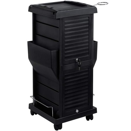 Olive Trolley - Saloniture Premium Locking Rolling Trolley Cart with Pockets - Black