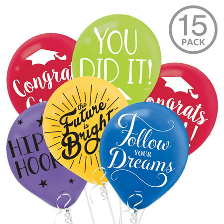 Multicolor Graduation Latex Balloons with Grad Sayings (15 Count) ()