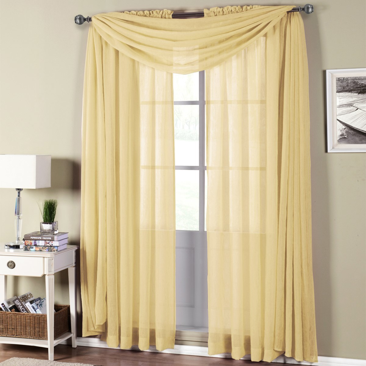 Abri Rod Pocket Crushed Sheer Curtain Panels ( Panels & Scarfs Sold Individually )- 50x96 - White