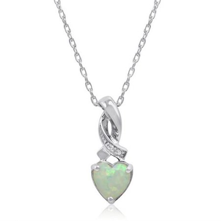 Amanda Rose Collection Heart Shape Created Opal & Diamond Pendant in Sterling - Ananda Collection