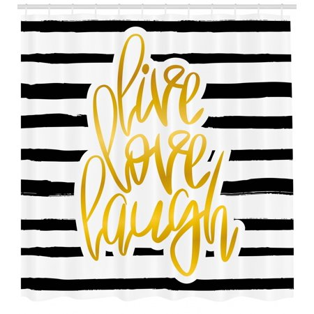 Live Laugh Love Shower Curtain, Romantic Design with Hand Drawn Stripes and Calligraphic Text, Fabric Bathroom Set with Hooks, Black White Earth Yellow, by Ambesonne ()