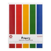 "Colorbok Primary Smooth Cardstock Pad, 8.5"" x 11"", 10 sheets of each color, 50 pieces"