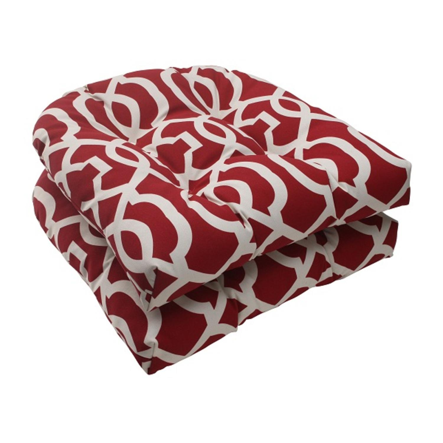 Set of 2 Moroccan Mosaic Red Outdoor Wicker Patio Furniture Chair Cushions 19""