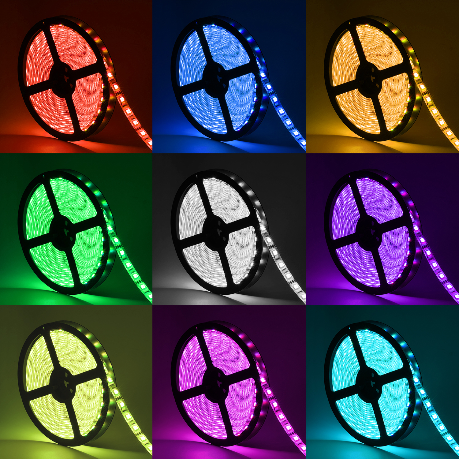 Oak Leaf SMD 5050 16.4ft RGB LED Strip Light Waterproof Strip Lights with 44 Key IR Remote Control