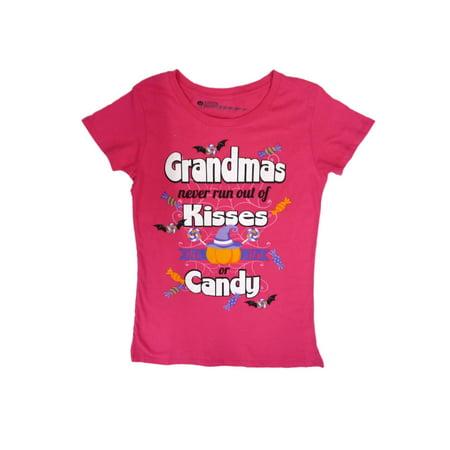 Happy Halloween Womens Grandmas Never Run Out Of Kisses T-Shirt Pumpkin Shirt