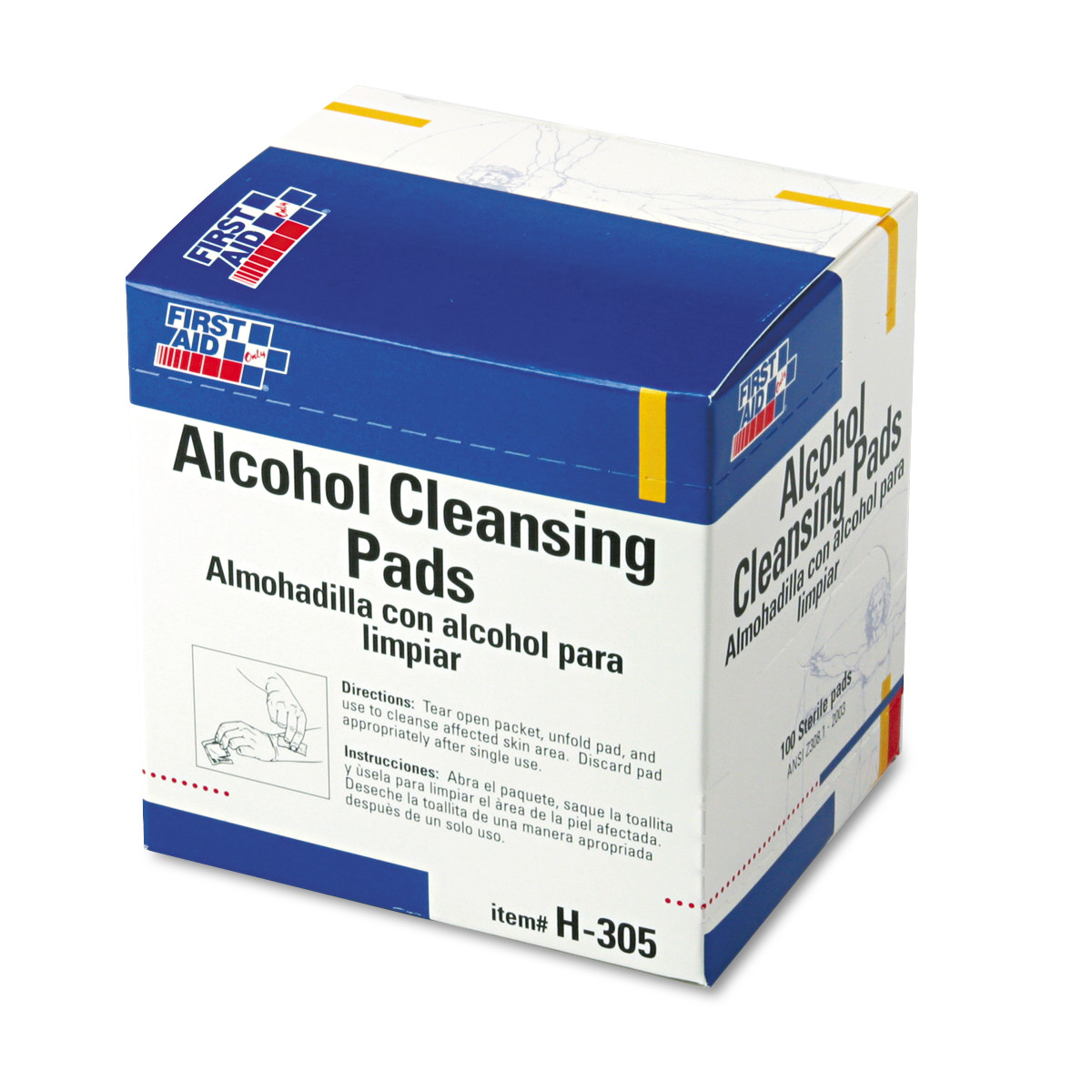 First Aid Only Alcohol Cleansing Pads, Dispenser Box, 100/Box