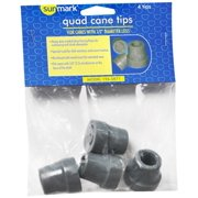 Sunmark Quad Cane Tips For Canes With 1/2 Inch Diameter Legs - 1 pair