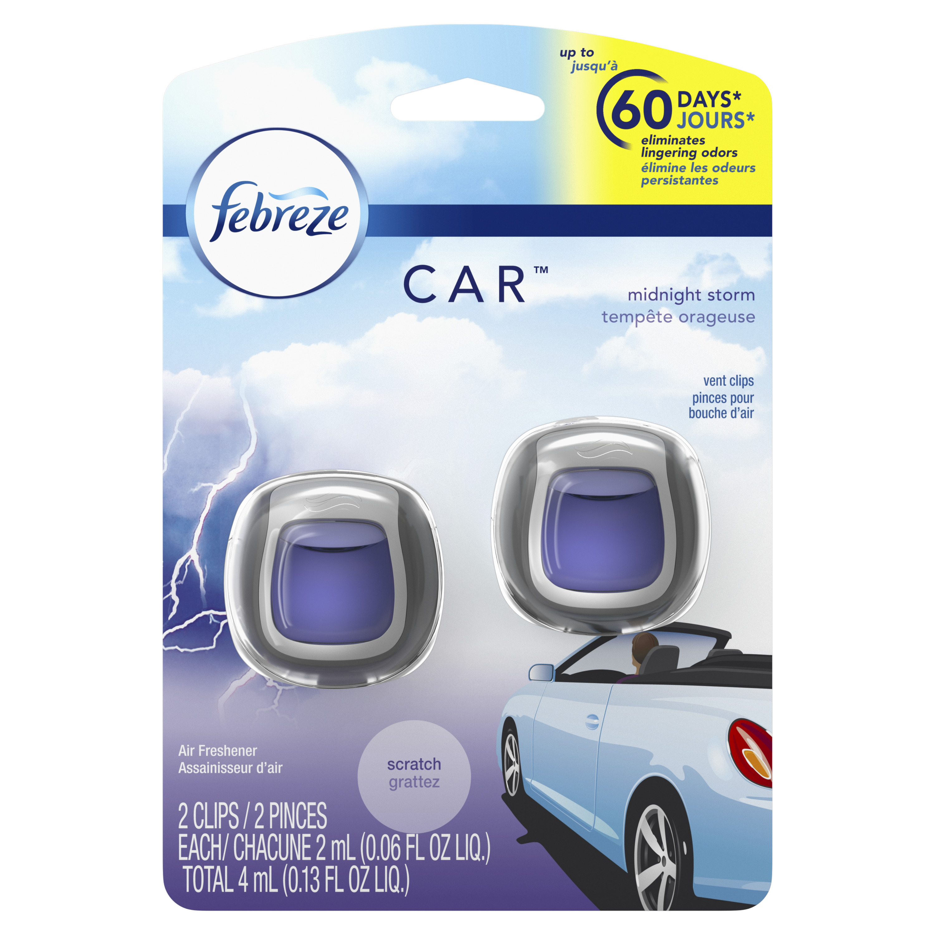 Febreze Car Air Freshener Vent Clips, Midnight Storm, 2 Count