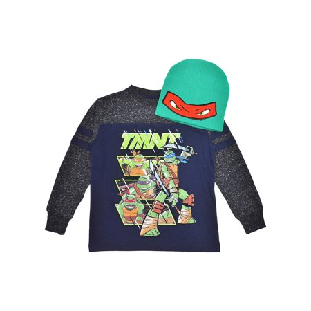 Boys TMNT Long Sleeve Shirt & Beanie Set 2-Piece Size Large (10/12)](Ninja Clothing For Sale)
