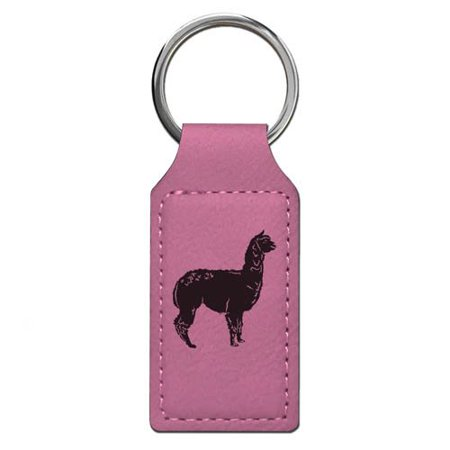 Keychain - Alpaca - Personalized Engraving Included (Pink Rectangle)