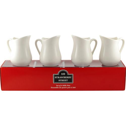 "10 Strawberry Street Tid Bit Set, Red Box 3.25"", 3 oz Milk Jugs, Set of 4, White"