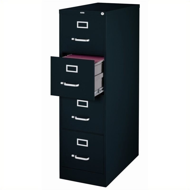 """Pemberly Row 4 Drawer 25"""" Deep Letter File Cabinet in Black"""
