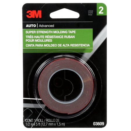 3M Super Strength Molding Tape, 03609, 1/2 in x 5 ft, 1 Roll 3m Hi Strength 90 Spray