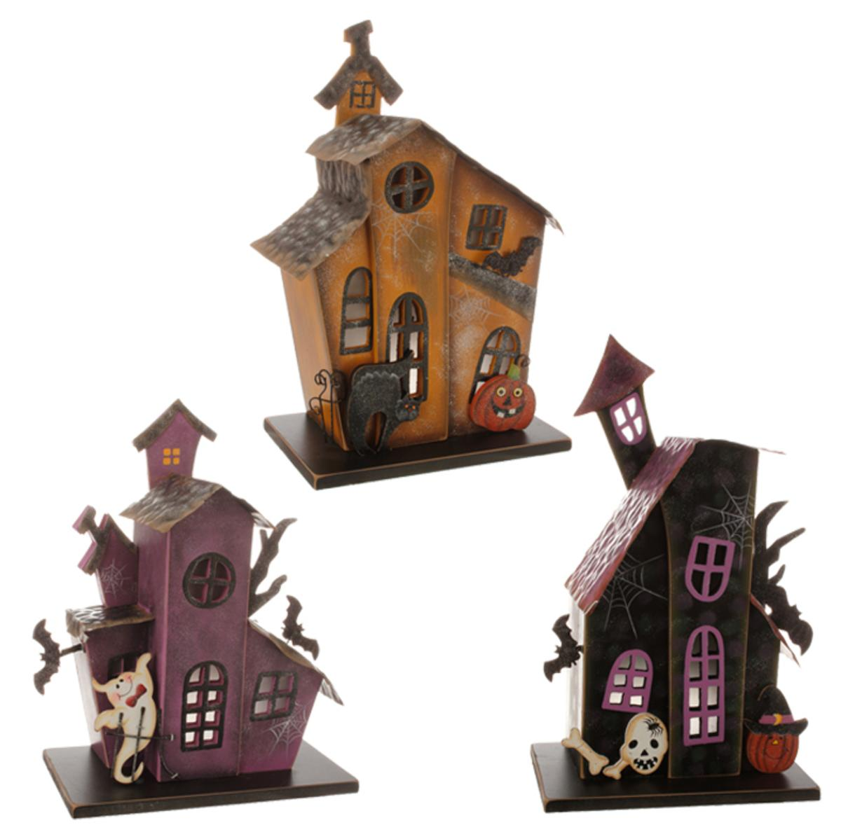 "10"" Battery Operated Lighted Purple and Black Haunted House Halloween Table Top Decoration"