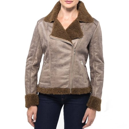 Shearling Leather Coat - Alpine Swiss Eva Women's Motorcycle Jacket Racer Coat Biker Scuba Faux Shearling Brown Small