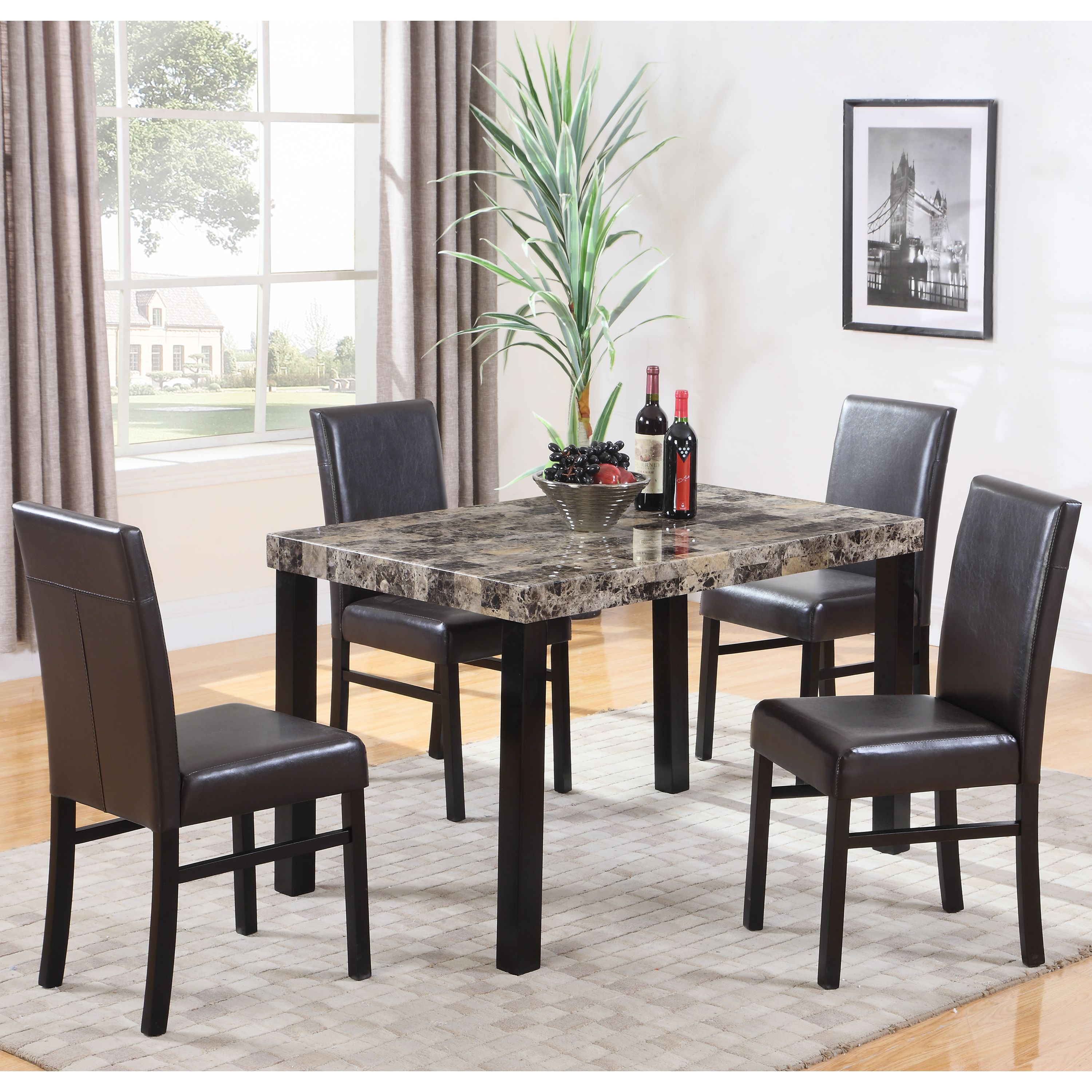 Best Master Furniture's Britney Marble Look 5 Pcs Dining Set