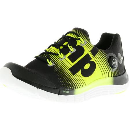 09ec03c12ce6 Reebok - Reebok Women s Z Pump Fusion Black   Solar Yellow White Ankle-High  Canvas Running Shoe - 7.5M - Walmart.com