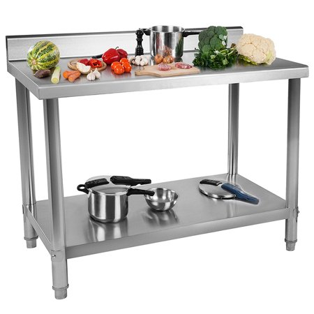 3084 Work Table Backsplash - Jeobest Commercial Kitchen Prep & Work Table - Restaurant Stainless Steel Work Table with Backsplash Kitchen Restaurant Table Kitchen Work Bench (36 x 24 x 35 inches)