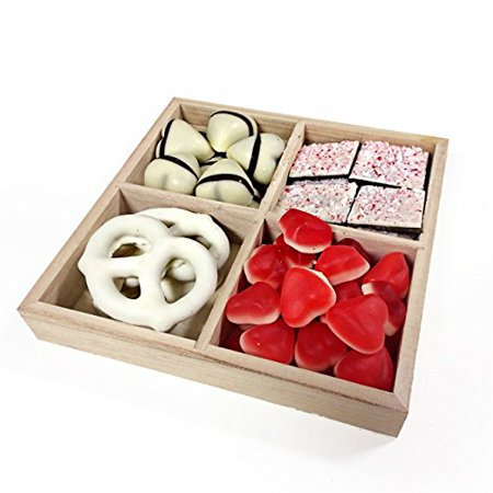 The Nuttery Valentines Day Chocolate And Candy 4 Section Gift Tray