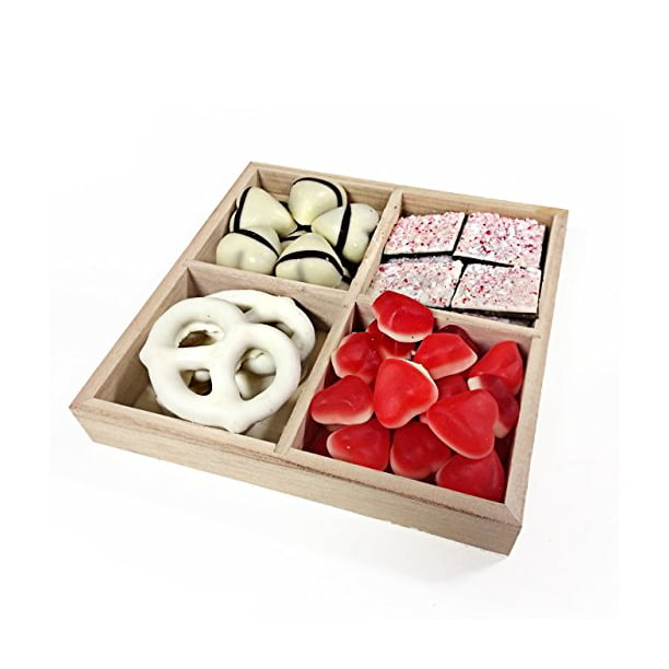 The Nuttery Valentines Day Chocolate And Candy 4 Section Gift Tray Walmart Com Walmart Com