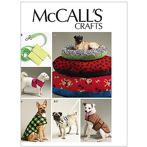 McCall's Pattern Dog Bed in 3 Sizes, Leash, Case, Harness Vest and Coat, All Sizes in 1 Envelope