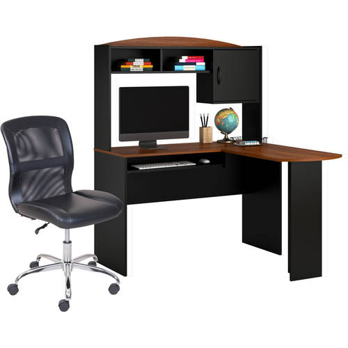 Mainstays L-Shaped Desk with Hutch, Multiple Finishes and Mainstays Vinyl and Mesh Task Chair