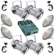 4 Silver PAR CAN 56 500w PAR56 WFL Dimmer C-Clamp