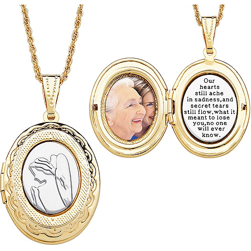 """Two-Tone Memorial Angel 14kt Gold-Plated Locket Pendant, 20"""""""