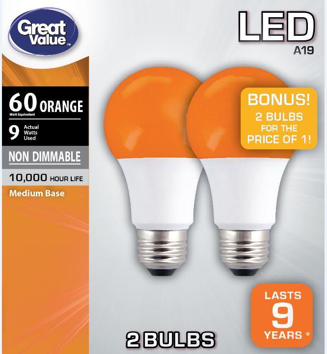 Great Value LED A19 (E26) Light Bulb, 9W (60W Equivalent), Orange, 2-Pack