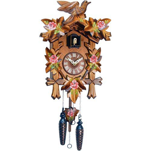 Carved Bird and Pink Roses Cuckoo Clock by Black Forest