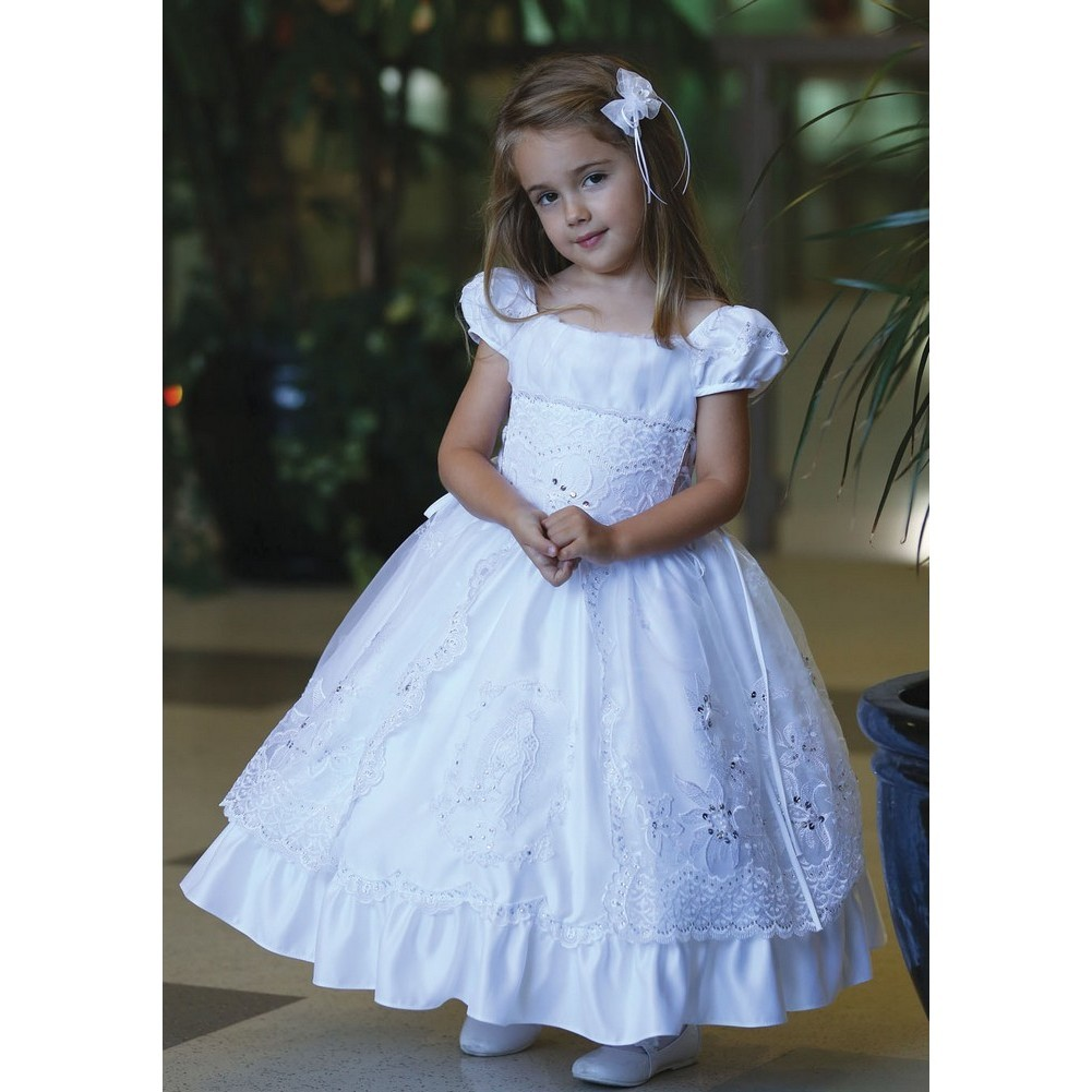 Angels Garment White Cap Sleeve Satin Baptism Dress Girls 6M-4T