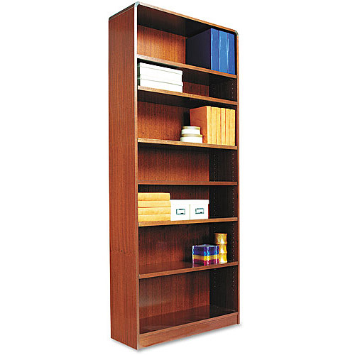alera bcr78436mc radius corner wood bookcase seven shelf