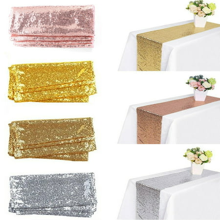 Sequin Table Runners Sparkly Rose Gold Silver Champagne Tablecloth Wedding Birthday Party Christmas Holiday Banquet Catering Dining Room Kitchen Decorations, (Stonewall Kitchen Champagne)
