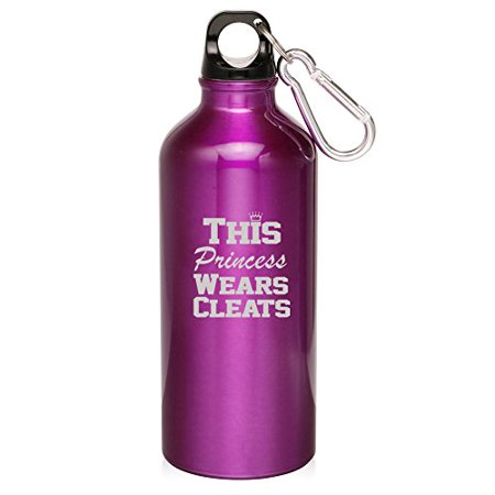 20oz Aluminum Sports Water Bottle Caribiner Clip Soccer Softball Lacrosse This Princess Wears Cleats (Purple) (Water Bottle Soccer)