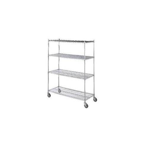 R&B Wire LC183672 18 inch x 36 inch x 72 inch Linen Cart with Four Wire Shelves