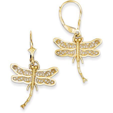 14k Dragonfly with Filigree Wings Leverback (Dragonfly French Wire Earrings)