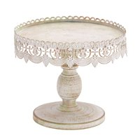 """Decmode - Antique Style Round, Distressed White Metal Cake Stand with Pierced Metal Designs, 10"""" x 9"""""""
