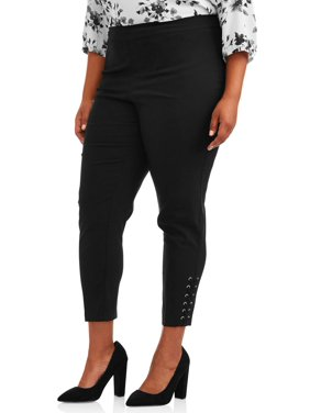 Zac & Rachel Women's Plus Size Slim Leg Millennium Ankle Pants
