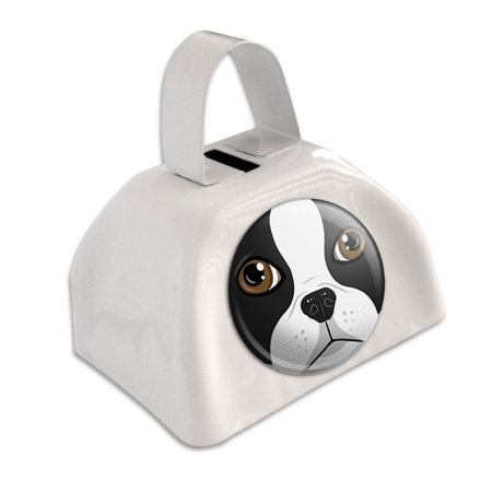 - Boston Terrier Face Pet Dog White Cowbell Cow Bell