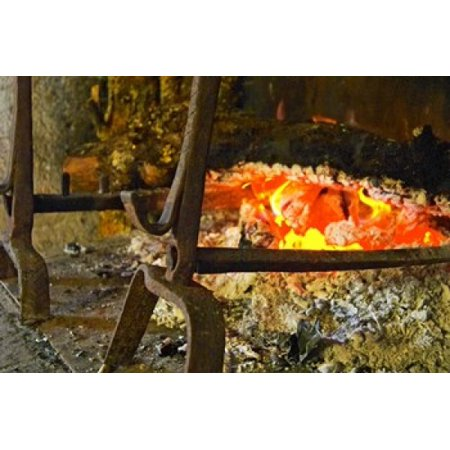 Fireplace with a Burning Log on a Truffle Farm Canvas Art - Per Karlsson  DanitaDelimont (27 x 18) (Burning Farm)