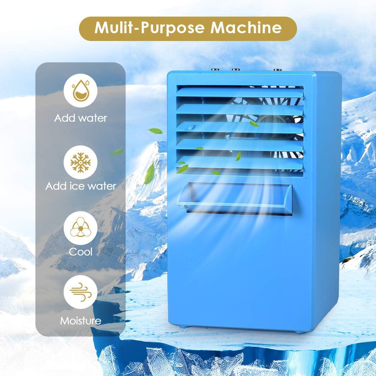 Portable Fan Cooler Air Box Fan w// Ice Water Tank Desktop mini Evaporative