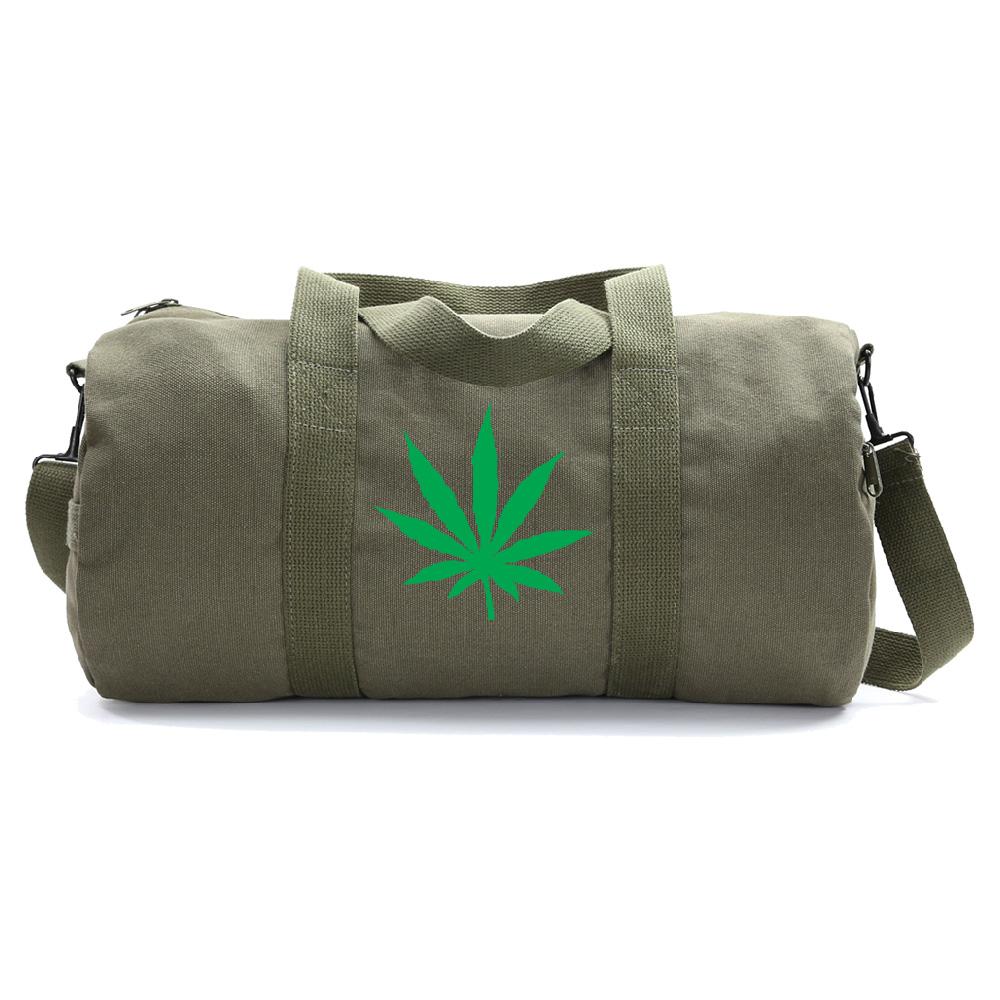 Marijuana Cannabis Leaf Vintage Style Duffle Bag 420 Gym Duffel by Grab A Smile