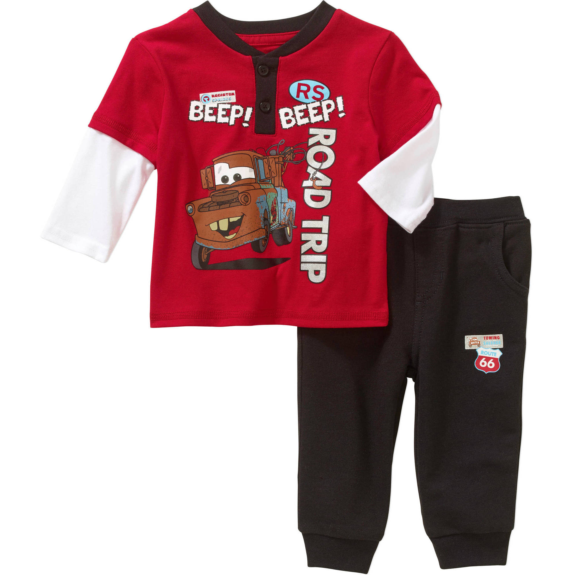 Cars Newborn Baby Boy Long Sleeve Tee and Pant Set