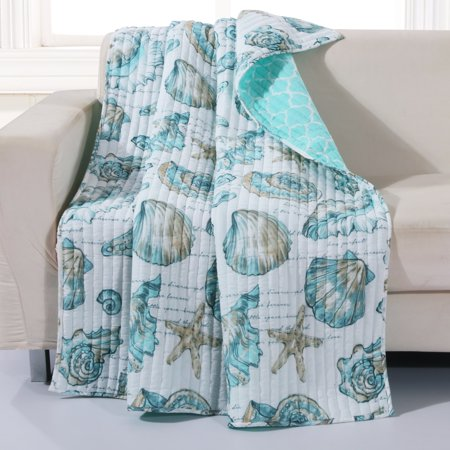 Global Trends Coastal Seashell 50x60-Inch Quilted Throw Blanket ()