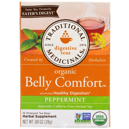 Traditional Medicinals Teas Belly Comfort Peppermint Tea 16 Bag, Pack of 2