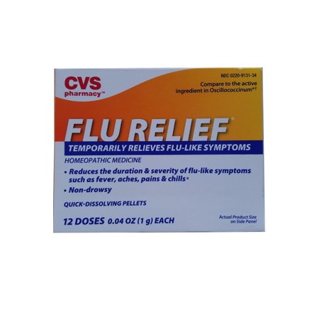 Health Homeopathic Medicine Non Drowsy Flu Relief Temporarity Relieves Flu Like Symptoms Quick Dissolving Pellets 12 Doses 0 04 Oz  1G  Each  For Ages 2 Years   Over By Cvs From Usa