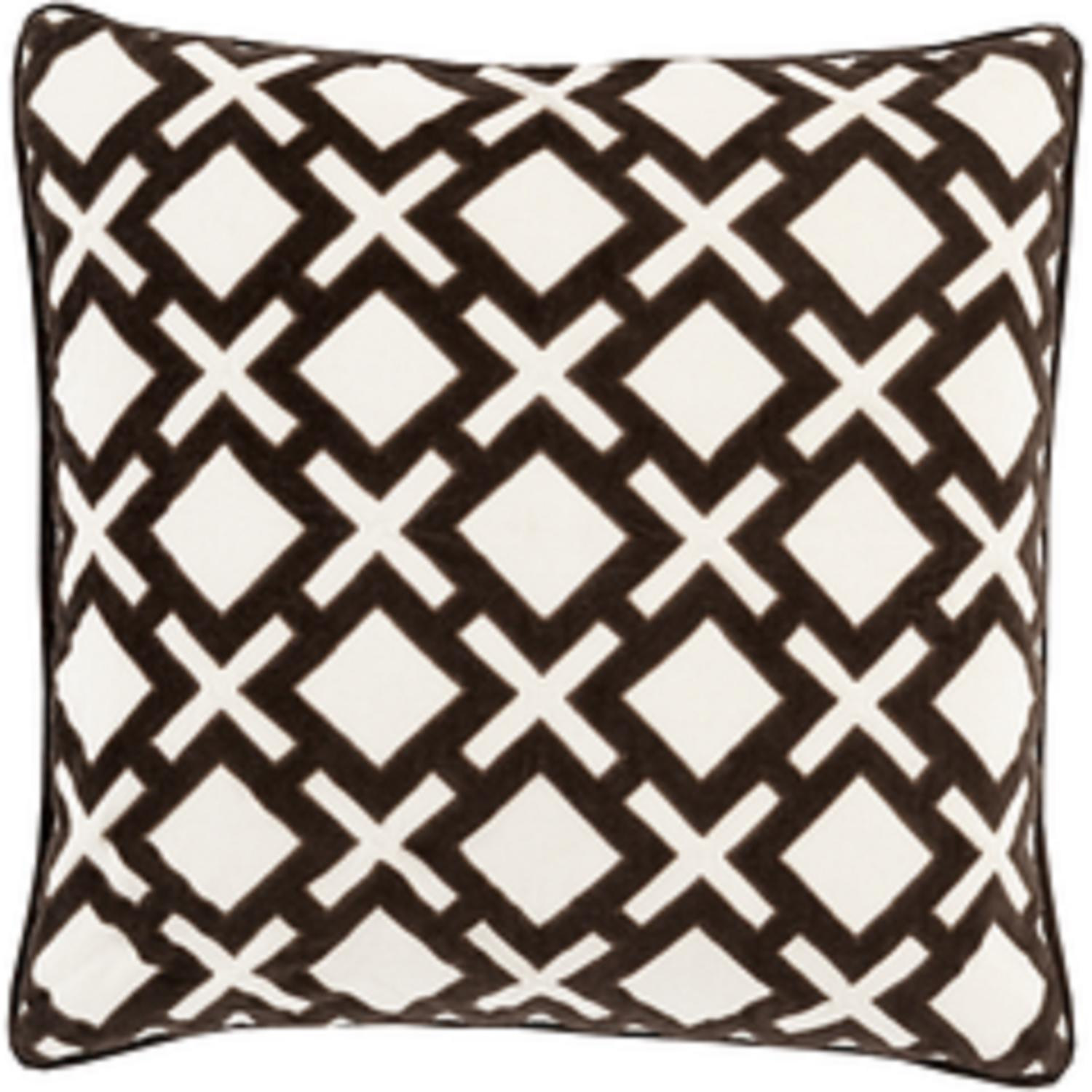 "18"" X's and Squares Licorice Black and Ivory White Decorative Woven Throw Pillow - Down Filler"