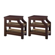 Gallaway Occasional Tables - Set of 2 - Rectangular Side Tables by Naomi Home-Accent:Natural,Finish:Espresso