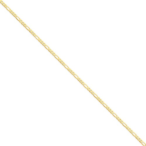 14k Yellow Gold 8in 2.75mm Flat Men's Figaro Chain Bracelet