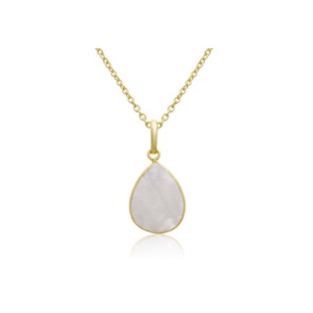 - 10 Carat Moonstone Pear Shape Necklace In 18 Karat Gold Overlay Free Chain